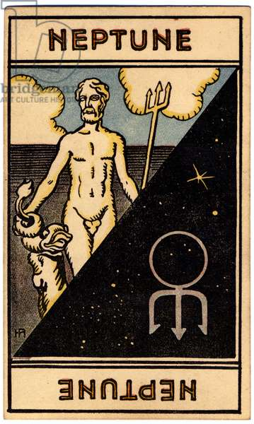 Paranormal. Astrology. Neptune (planet). Astrologic card from: Le Tarot Astrologique (Astrological Tarot), by Georges Muchery, France, 1927