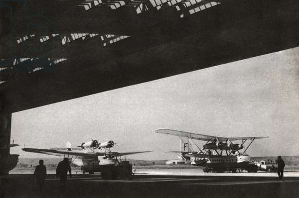 Air France Seaplanes. (b/w photo, 1936)