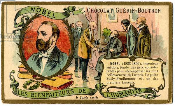 Science. The swedish chemist Alfred Nobel and the Nobel Prize. Imagery, France, c.1900.