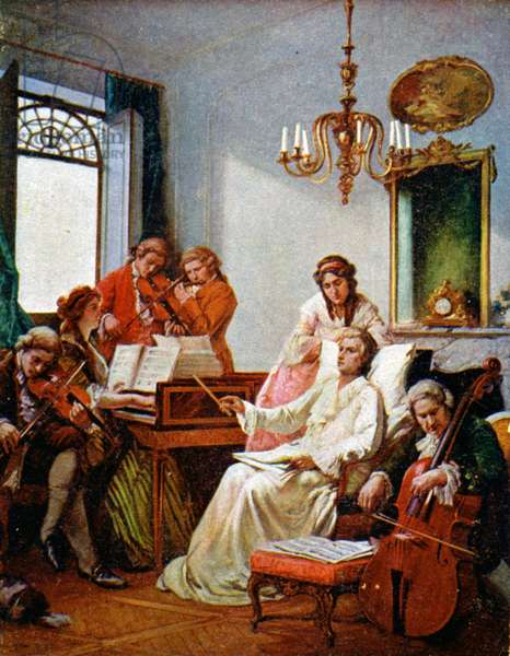 Music. Wolfgang Amadeus Mozart dying and composing his Requiem (1791). Illustration, Czech Republic, c.1900 (postcard)