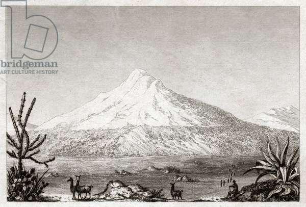 Chimborazo volcano. (engraving, ca. 1840)