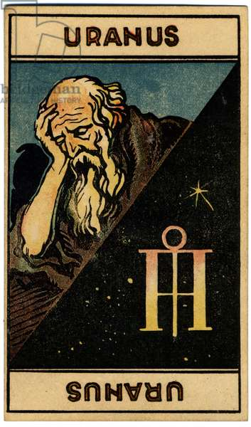 Paranormal. Astrology. Uranus (planet). Astrologic card from: Le Tarot Astrologique (Astrological Tarot), by Georges Muchery, France, 1927