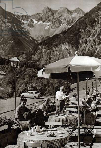 Lunch tourists in a cafe in Bludenz