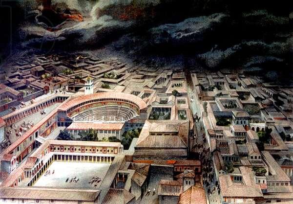 Eruption du Vesuve a Pompei