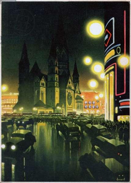 Geography. Germany. Berlin, Evening near the Kaiser Whilhelm Memorial Church (Kaiser Wilhelm Gedachtniskirche). Poster by Jupp Wiertz, Germany, 1936. (postcard)