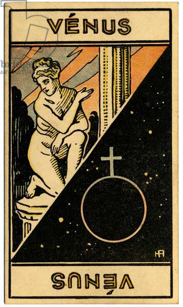 Paranormal. Astrology. Venus (planet). Astrologic card from: Le Tarot Astrologique (Astrological Tarot), by Georges Muchery, France, 1927