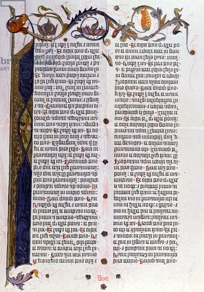 Bible page 36 lines from Gutenberg, Mainz