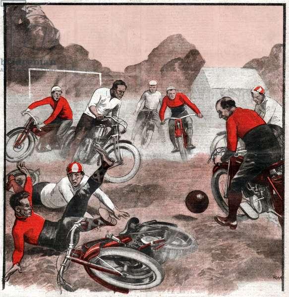 Football a moto. Soccer on a moto.