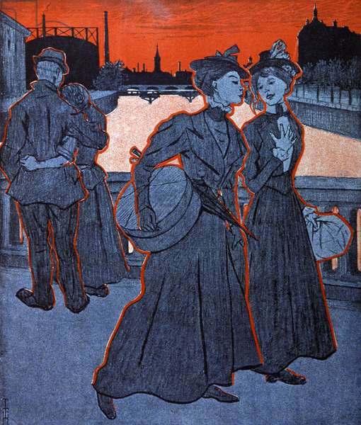 Young woman talking. Illustration by Th.Th. Heine in: Simplicissimus, Germany, 1898 (lithograph)