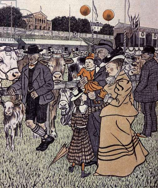 Family in an a Farm Fair. Illustration by Th.Th. Heine in: Simplicissimus, Germany, 1898 (lithograph)
