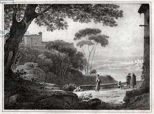 Lake Albano. (engraving around 1820)
