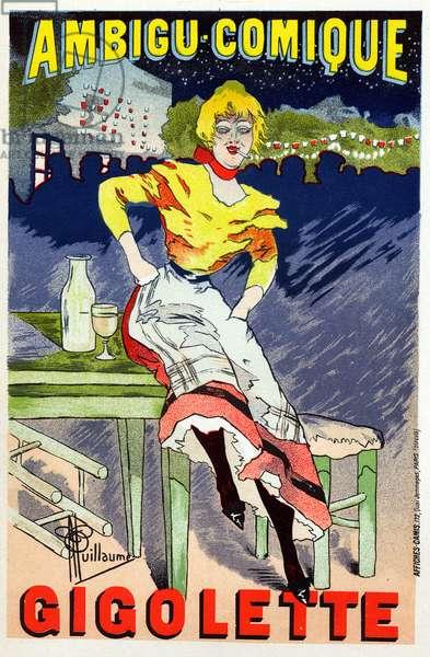 Art. Entertainment. Gigolette, show at the Cabaret L'Ambigu Comique, Paris. Poster by A. Guillaume, France, c.1890 (poster)