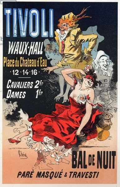 Art. Entertainment. Masquerade ball at the Tivoli Waux Hall, Paris. Poster by Jules Cheret, France, c.1870 (poster)
