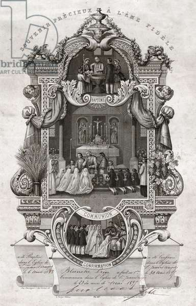 Sacraments in the Catholic Church. (engraving, 1895)