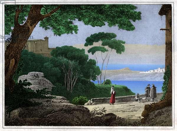 Lake Albano. (engraving, ca. 1820)