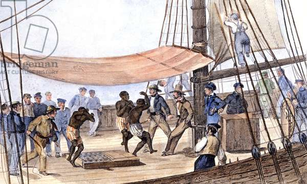 Slaves dancing on a boat, c.1850 (colour engraving)