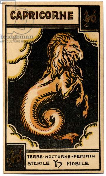 Paranormal. Astrology. Capricorn (the Sea Got). Astrologic card from: Le Tarot Astrologique (Astrological Tarot), by Georges Muchery, France, 1927