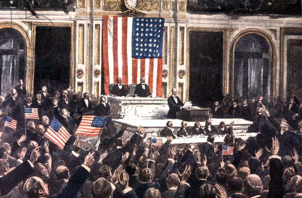 Wilson at the podium of the American Congress, during the vote on the entry into war of the United States in 1917