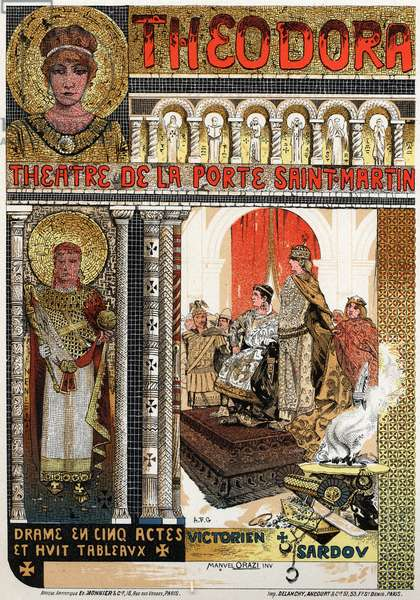 Literature. Theatre. Theodora, play by Victorien Sardou. Poster by Manuel Orazzi for a show with Sarah Bernhardt, France, c.1895 (poster)