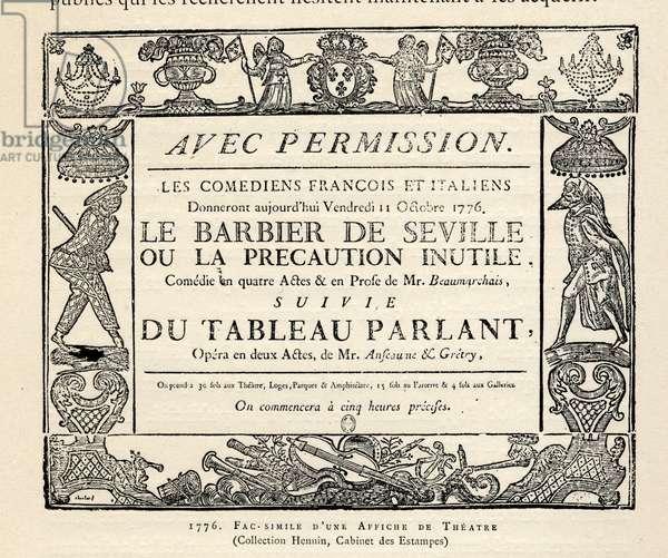 Literature. Theatre. The Barber of Seville, play by Pierre Beaumarchais. Poster for a representation at La Comedie Francaise, Paris, France, 1766. (poster)
