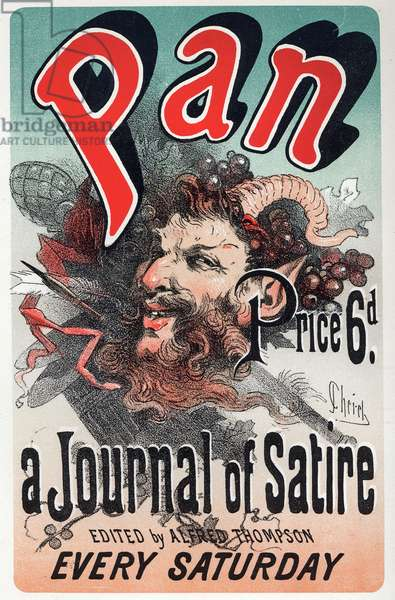 Literature. Pan, satirical newspaper. Poster by Jules Cheret, England, c.1880 (poster)