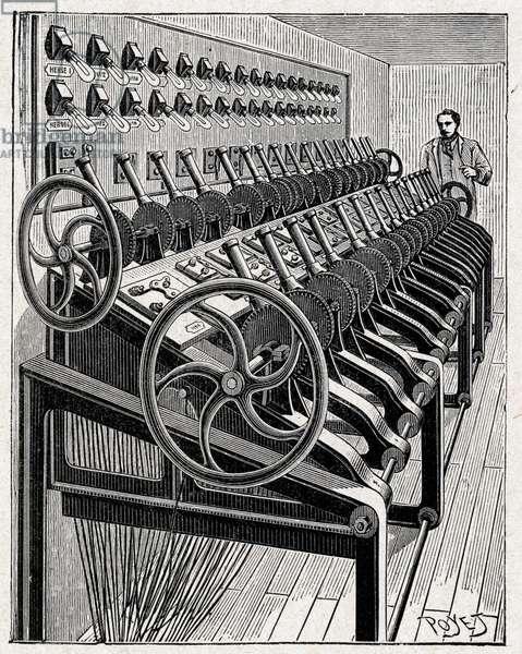 Science. Electricity. Lighting dashboard at the Opera de Paris. Engraving in: Grands hommes et grands faits de l'industrie, France, c.1880 (engraving)