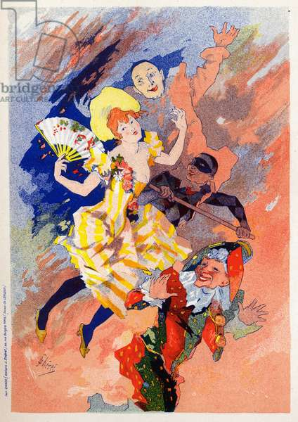 Art. Entertainment. The mime show. Allegory by Jules Cheret, France, c.1890 (poster)