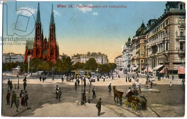 Geography. Austria. Vienna. Votive Church on the Ringstrasse. Postcard, Austria, c.1910 (postcard)
