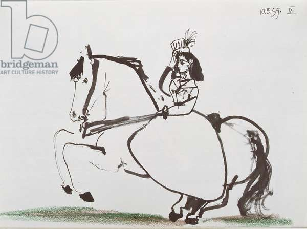 1959, from 2nd Book in 'Toros y Toreros' published by the Cercle d'Art 1961 (Indian ink and coloured crayon on paper)
