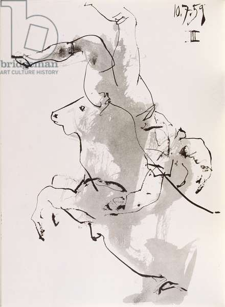 Bullfight, 1959, in 'Toros y Toreros', published by le Cercle d'Art in 1961 (Indian ink on paper)