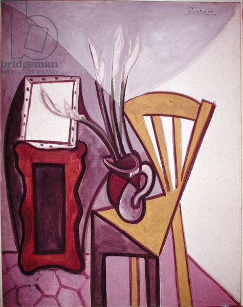 Still life with a chair and a vase of gladiolas, 17th September 1943 (oil on canvas)