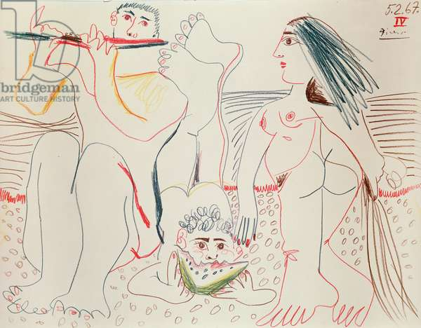 Flute player, man eating watermelon and a woman, 5th February 1967 (pencil on paper)