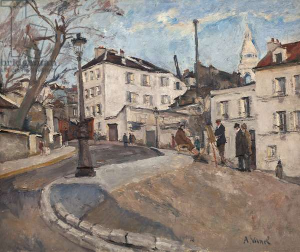 Square in Montmartre, 1927 (oil on canvas)