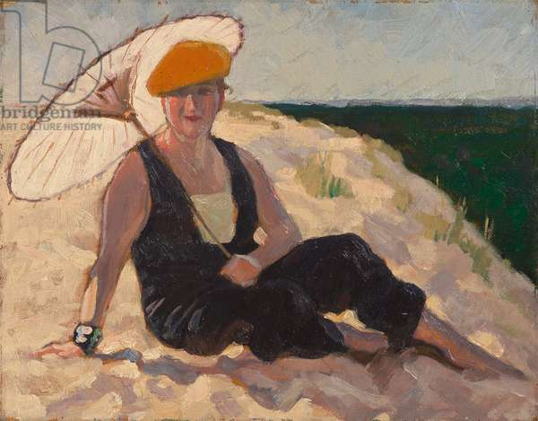 Woman in a black jumpsuit and orange beret on a dune at the Grande Côte, 1932 (oil on panel)
