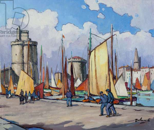 Boats in the Harbour of La Rochelle (oil on paper laid down on canvas)