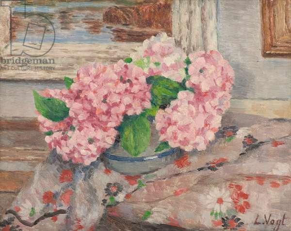 Hydrangeas in a vase (oil on panel)