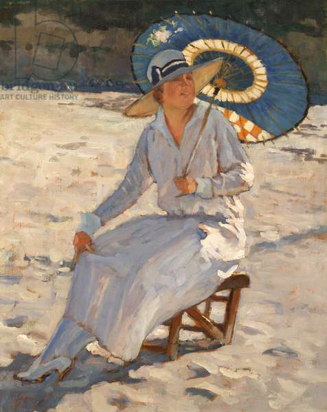 Woman with a Blue Parasol on Vallières Beach at Royan, 1924 (oil on panel)