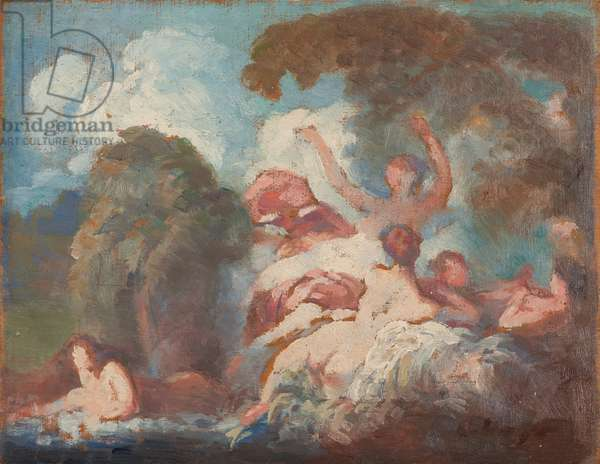 Sketch after Les Baigneuses by Fragonard, c.1905-10 (oil on panel)