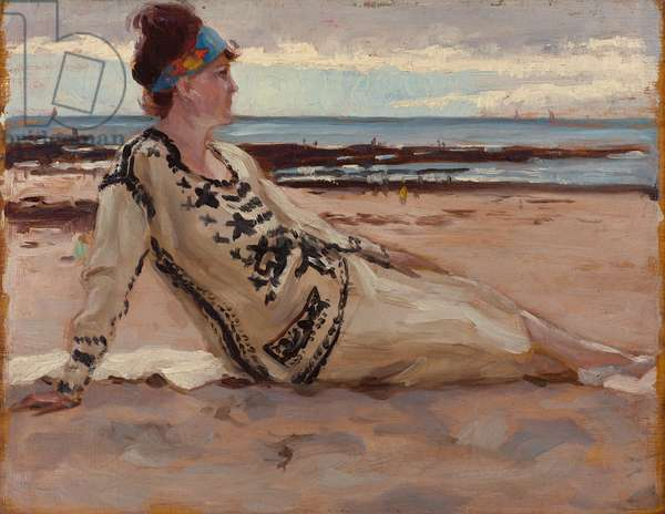 Woman in an evening dress on a beach, 1925 (oil on panel)