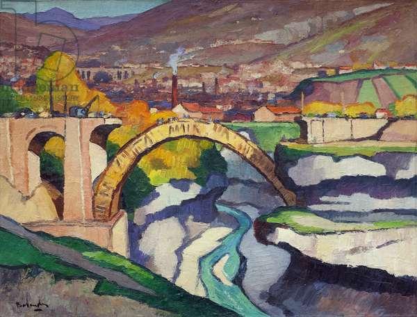 The Pont de Savoie at Bellegarde-sur-Valserine, 1948 (oil on paper laid down on canvas)