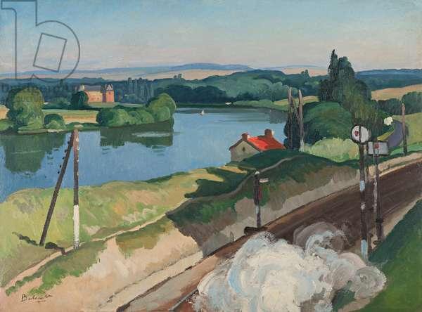 The Railway Track (Route de 'Quarante Sous') 1927 (oil on paper laid down on canvas)