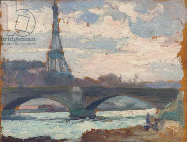 The Eiffel Tower and the Pont d'Iéna seen from Quai Debilly (oil on canvas)