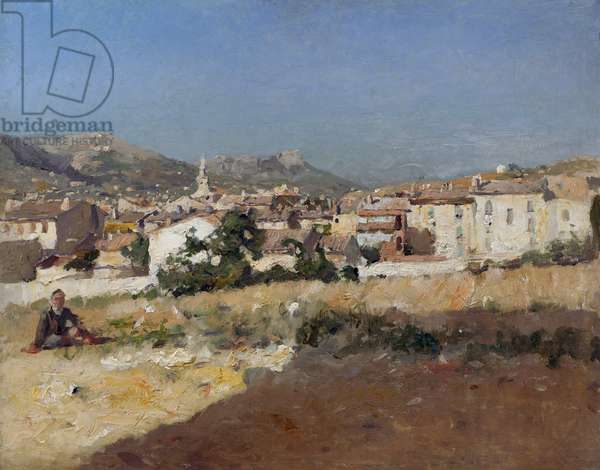 Town in the South of France (oil on panel)