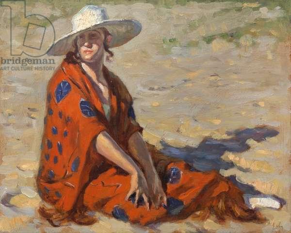 Woman in an orange kimono on a beach, 1921 (oil on panel)