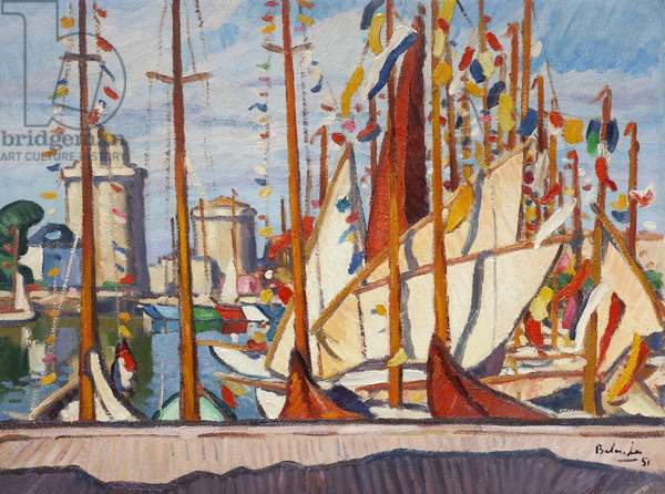 Sailing Boats in the Harbour of La Rochelle, 1951 (oil on paper laid down on canvas)