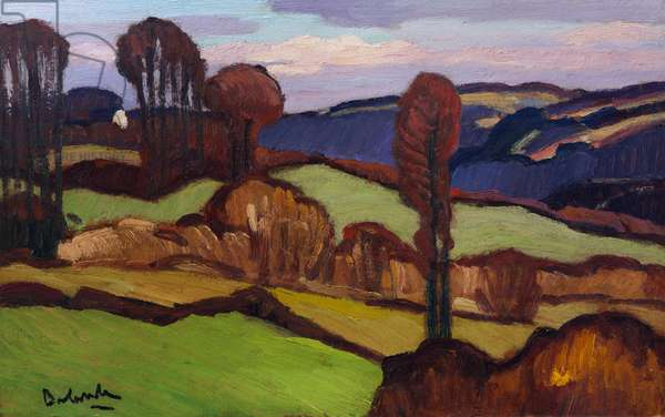 Valley near Chateaulin in Brittany (oil on masonite)