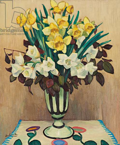 Bunch of daffodils in a black and white vase, 1940 (oil on paper laid down on canvas)