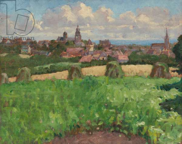 Town seen from the fields (oil on panel)