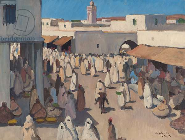 On the Streets of Oujda, Morocco, 1929 (oil on paper laid down on canvas)