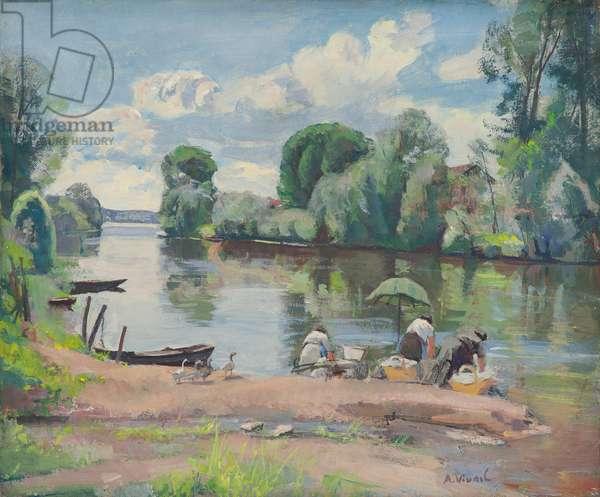 The Washerwomen, 1935 (oil & gouache on canvas)
